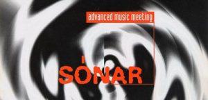 Imatge del primer Sónar el 1994, amb el lema d'Advanced Music Meeting que s'adoptaria com a empresa
